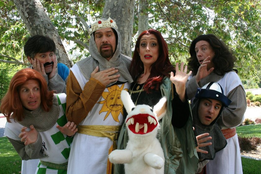"The cast of Premiere Productions' ""Monty Python's Spamalot,"" at the Welk Resorts Theatre in Escondido. CREDIT: Randall Hickman"
