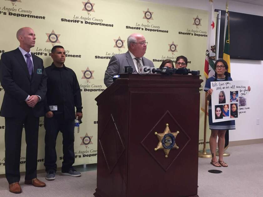 Los Angeles County Sheriff's Lt. Mike Rosson and relatives of Sarah Montoya ask for public help in finding her and her four children. She is a person of interest in the death of her grandmother, Paula Montoya.