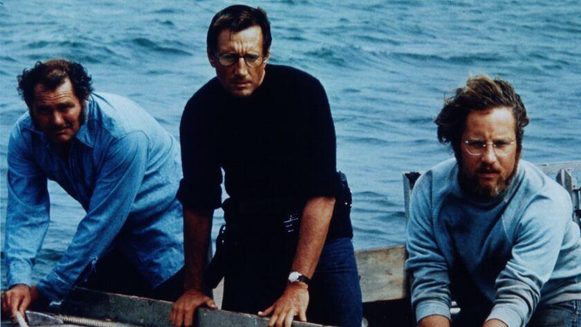 """Robert Shaw, left, Roy Scheider and Richard Dreyfuss in """"Jaws"""""""