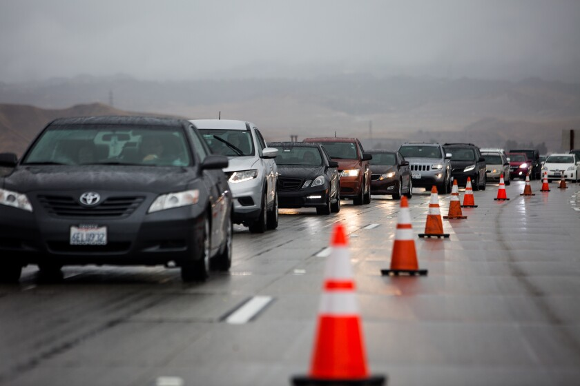 Traffic on the 5 Freeway during Thanksgiving storm