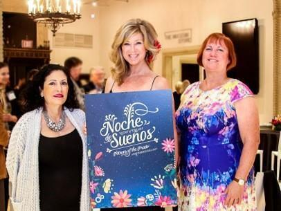 Patrons of the Prado's 2017 Masterpiece Gala Chair Kristi Pieper (center) with co-chairs Maria Stanley and Pam Wagner presenting the gala theme, Noche de Sueños (A Night of Dreams)