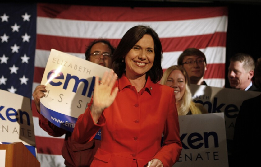 Republican Elizabeth Emken, thanking supporters after losing her bid to defeat Sen. Dianne Feinstein last year, announced Wednesday that she plans to run for the House seat held by Rep Ami Bera (D-Elk Grove).