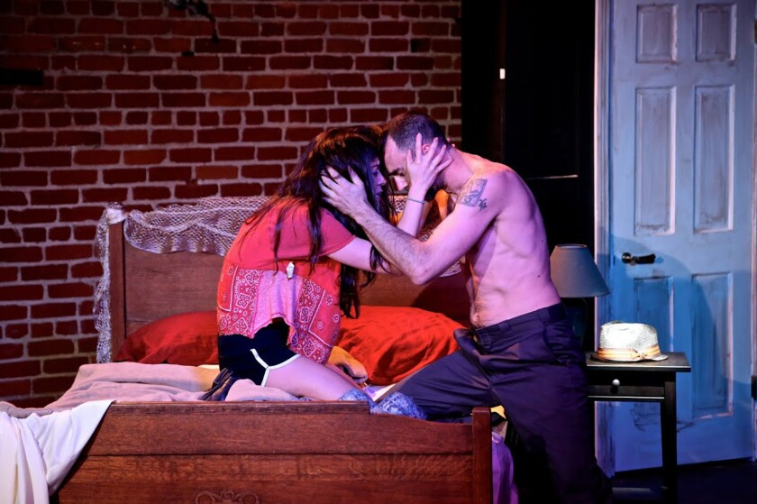 """Melissa Pino and Christopher Amitrano in """"The Mother ... With the Hat,"""" by Stephen Adly Guirgis."""