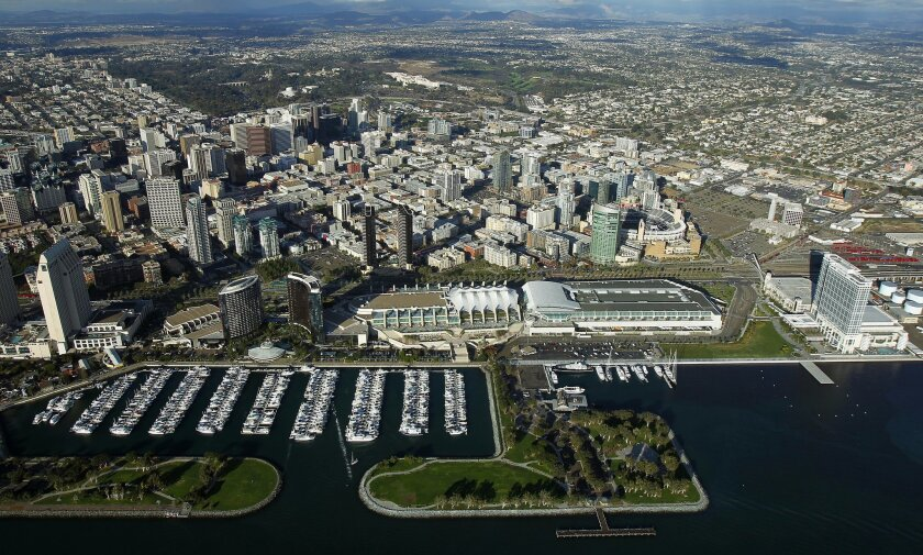Downtown San Diego, the convention center and Embarcadero Park South.