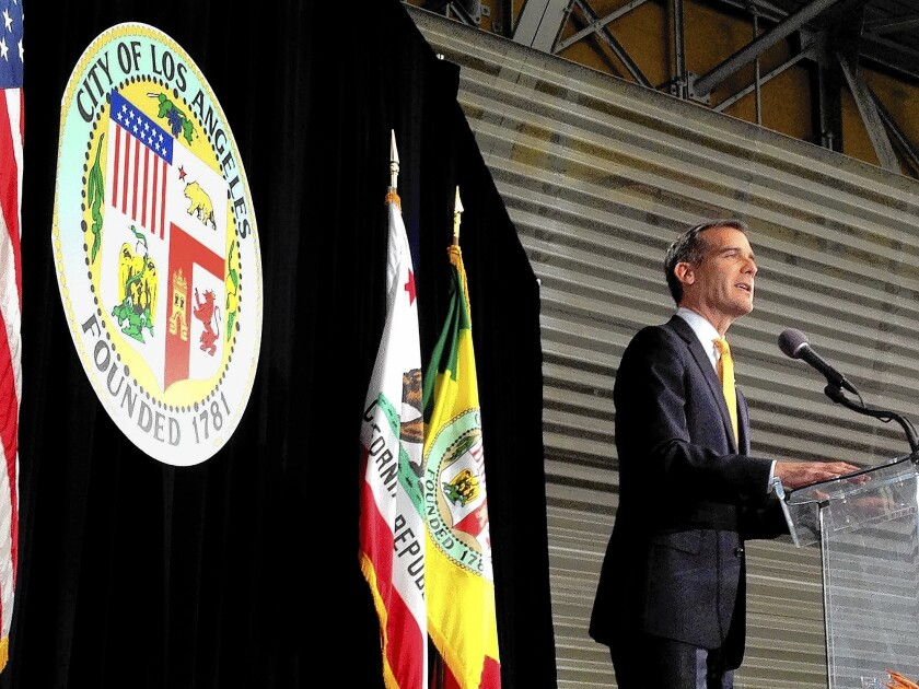 L.A. Mayor Eric Garcetti delivering his State of the City address in April; he said on Tuesday that the city has begun talks with federal officials about finding shelter for children who have crossed the border illegally.