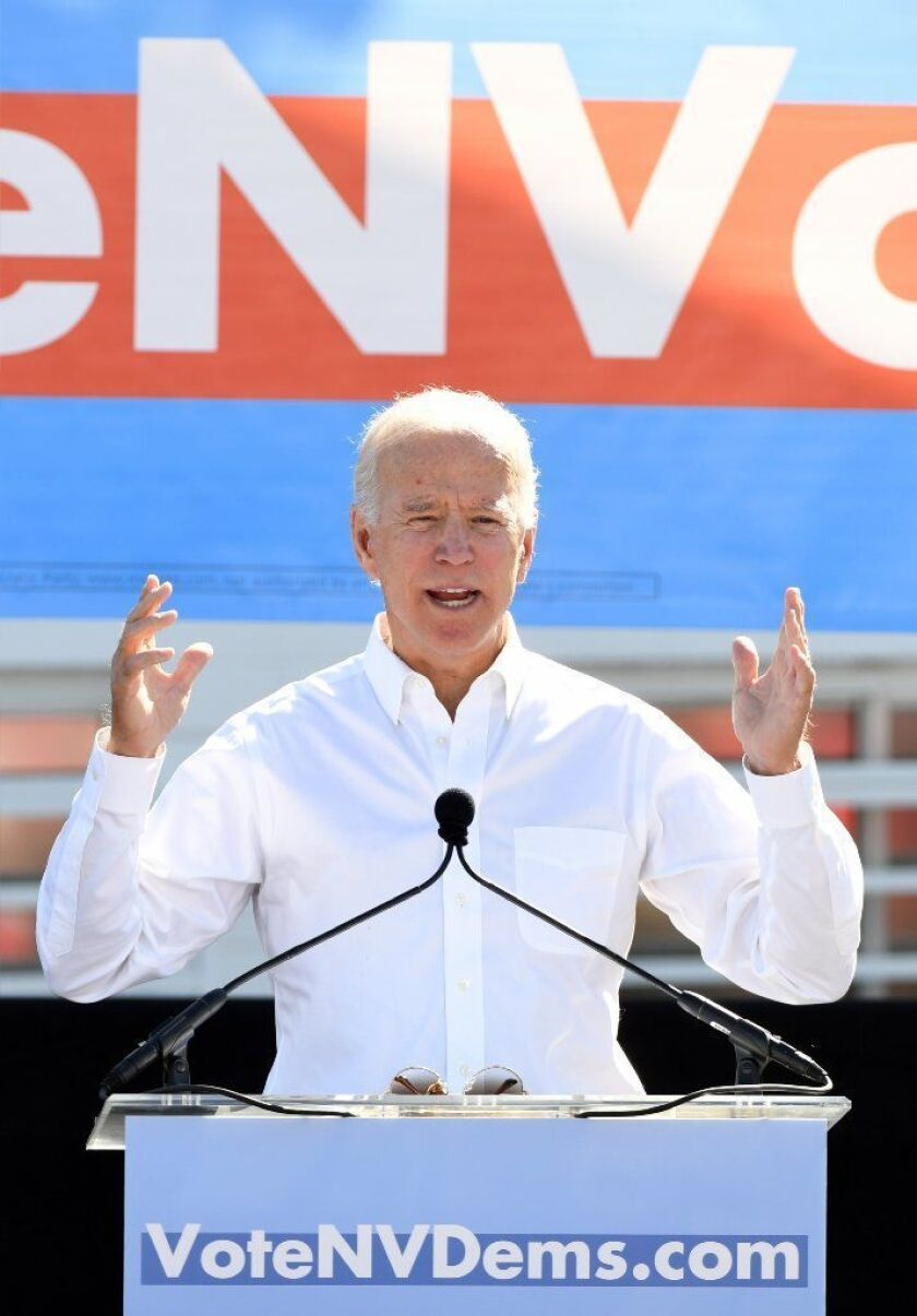 Former Vice President Joe Biden campaigns in Nevada ahead of midterm elections.