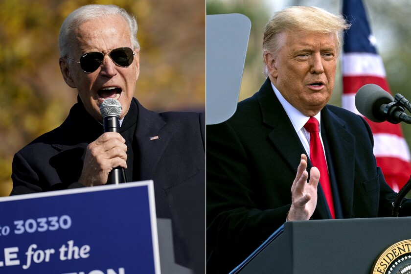 Joe Biden speaks at a rally in Flint, Mich., and Donald Trump speaks at a campaign rally in Newtown, Penn. Saturday.