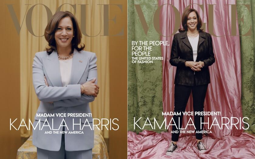 En esta combinación de fotografías proporcionadas por Vogue imágenes de la vicepresidenta electa Kamala Harris