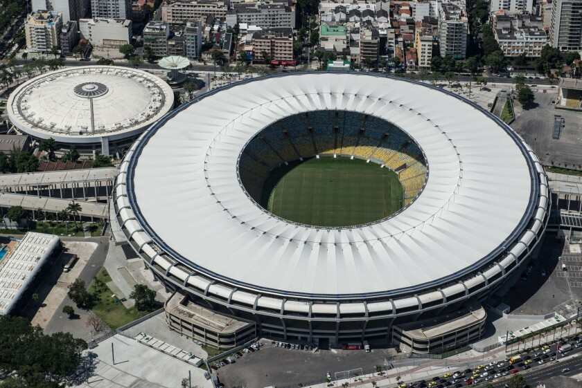 Aerial view of the Mario Filho stadium in Rio de Janeiro. The stadium is scheduled to host the 2016 Summer Olympics.