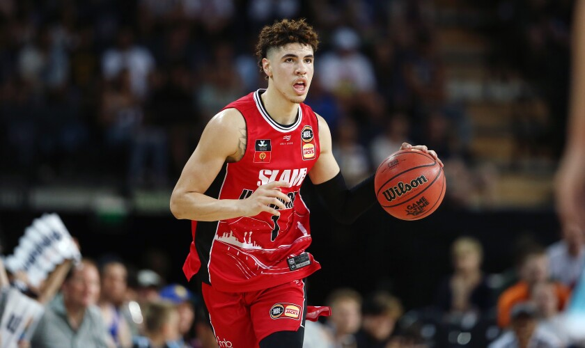 LaMelo Ball plays for the Illawarra Hawks on Nov. 30 in Auckland, New Zealand.