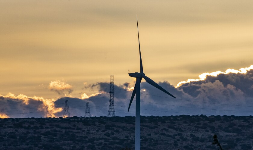 Dusk settles over wind turbines
