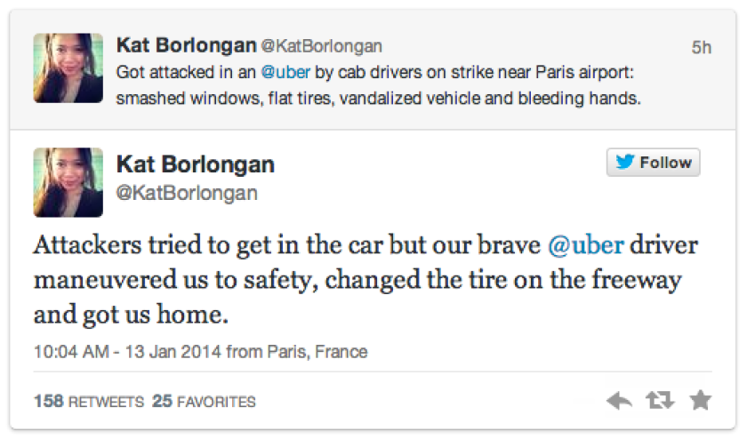 Kat Borlongan, a French entrepreneur, tweeted that a Uber car in which she was riding was attacked by protesting cab drivers.