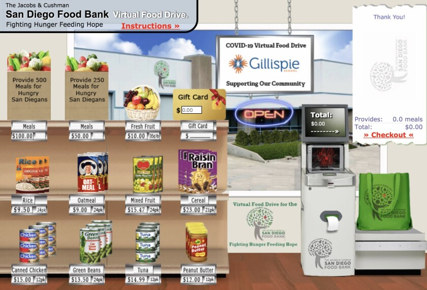 Gillispie School in La Jolla set up a virtual market on the San Diego Food Bank website where visitors can choose items to buy for the food bank or make monetary donations.