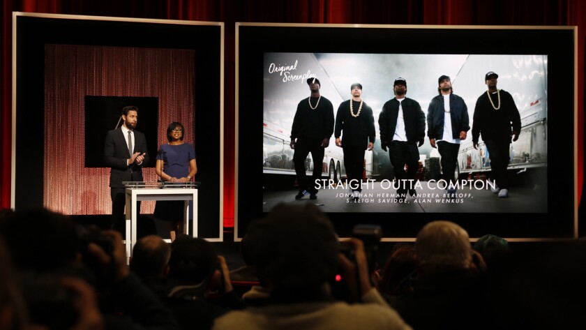 """The biggest applause at the Oscars nominations came when actor John Krasinski and academy President Cheryl Boone Isaacs announced """"Straight Outta Compton"""" as a nominee for original screenplay."""