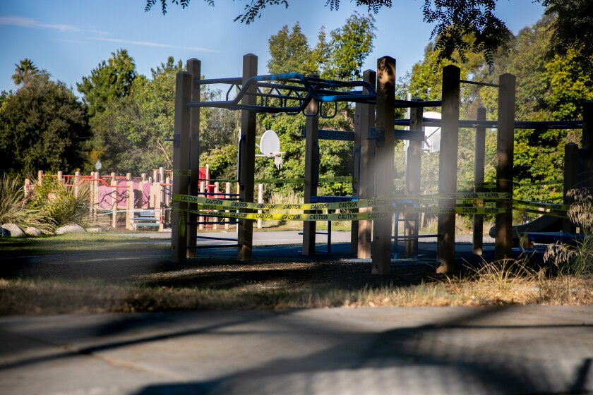 Some of the playgrounds are roped off at Normal Heights Elementary School on Thursday, Nov. 12, 2020 in San Diego