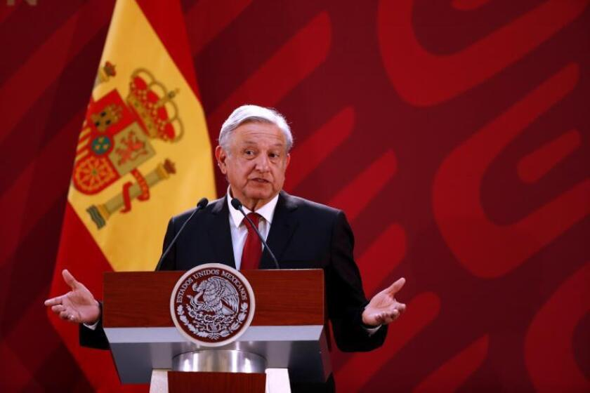 Mexican President Andres Manuel Lopez Obradorspeaks to the media at a joint press conference with Spanish Prime Minister Pedro Sanchez at the National Palace in Mexico City on Jan. 30, 2019. EFE-EPA/Jose Mendez