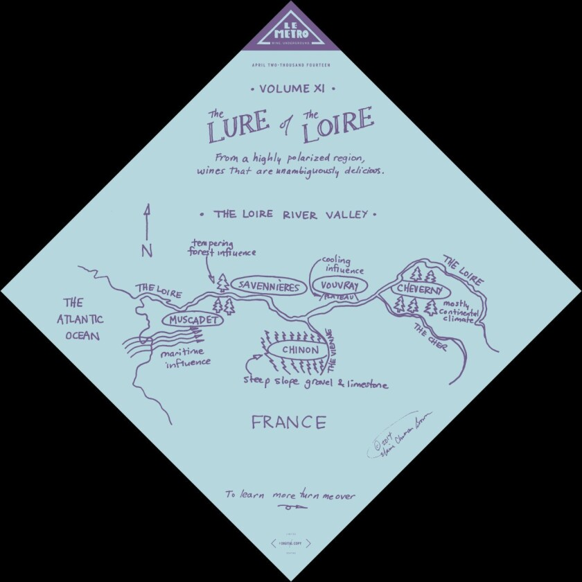 """The front page of Le Metro wine club's wine-zine for April. """"The Lure of the Loire"""" was written by Aaron Epstein and illustrated by Elaine Brown of Hawk Wakawaka Wine Reviews."""