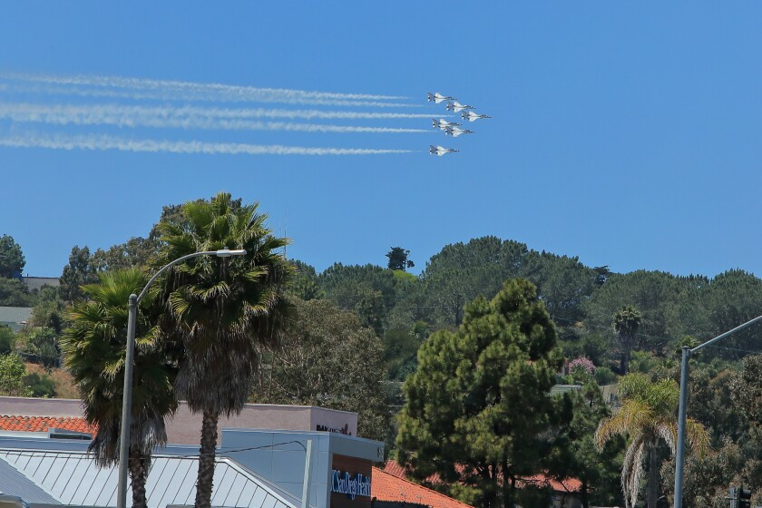 US Airforce Thunderbirds fly over UC San Diego Health Clinic, Encinitas in a salute to health care workers, first responders and other essential workers May 15th, 2020