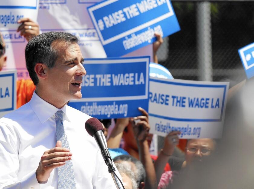 Mayor Eric Garcetti announces his plan to raise the minimum wage in Los Angeles.