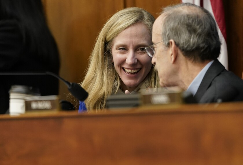 House Foreign Affairs Committee member Abigail Spanberger (D-Va.) and Chairman Eliot L. Engel (D-N.Y.).