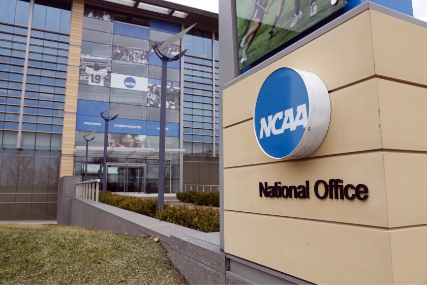 The national office of the NCAA in Indianapolis on March 12.