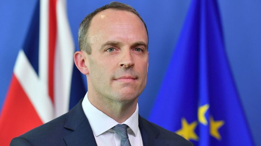 Britain's Secretary of State for Exiting the European Union Dominic Raab is pictured during a joint news conference at the European Commission in Brussels on July 19, 2018.