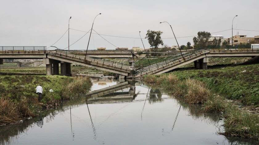 A destroyed bridge in east Mosul.