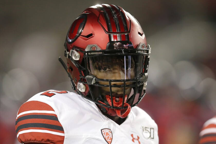 Utah defensive back Aaron Lowe in the first half during a game against Arizona.