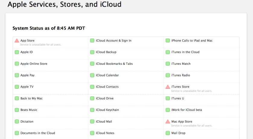Apple users are experiencing problems accessing many of the company's services.