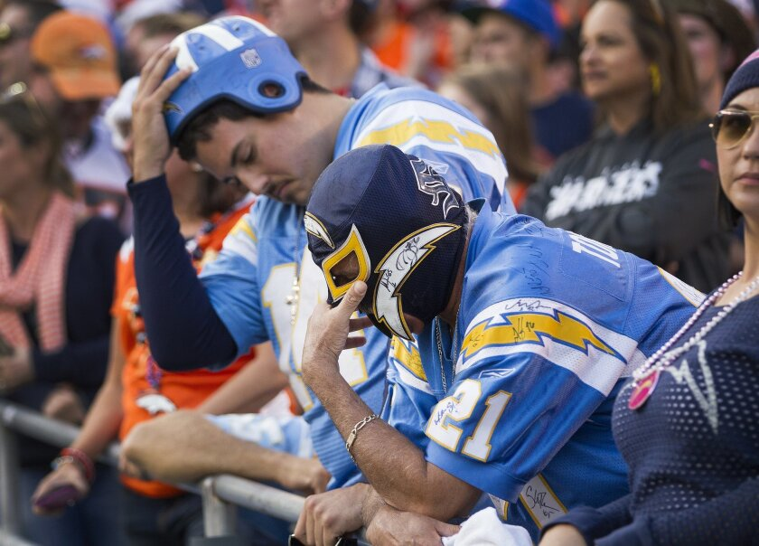 San Diego Chargers vs. The Denver Broncos at Qualcomm Stadium. San Diego Chargers vs. The Denver Broncos at Qualcomm Stadium. Rocky Pozo (foreground) and his son Anthony Pozo (background) of Clairemont react to the 22-10 loss the Chargers suffered.