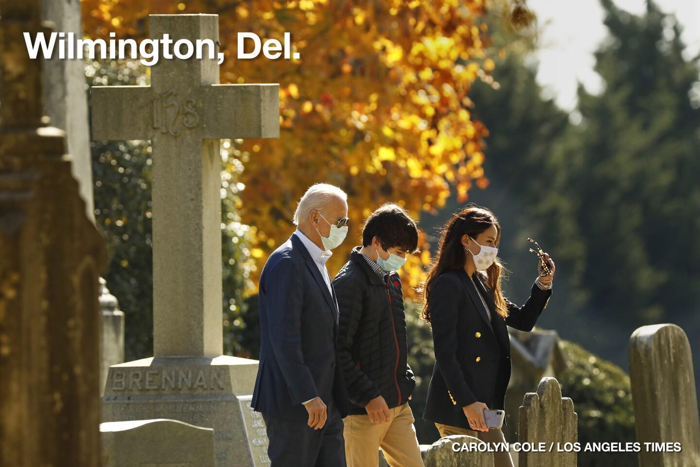 President-elect Joe Biden, left, attends church at St. Joseph on the Brandywine Roman Catholic Church in Wilmington,