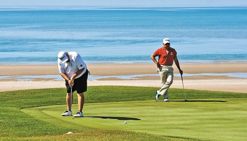Puerto Peñasco, once a small fishing village, now has championship golf courses, like this one at the Mayan Palace Resort.