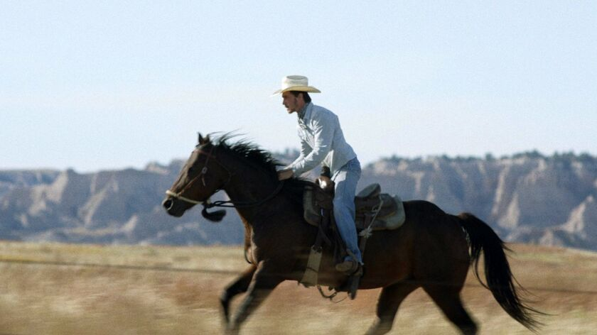 """This image released by Sony Pictures Classics shows Brady Jandreau in a scene from """"The Rider."""" On"""