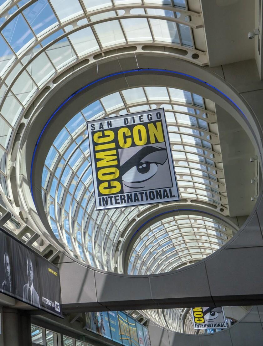 En esta foto del 20 de julio de 2018, un cartel de la Comic-Con en San Diego.