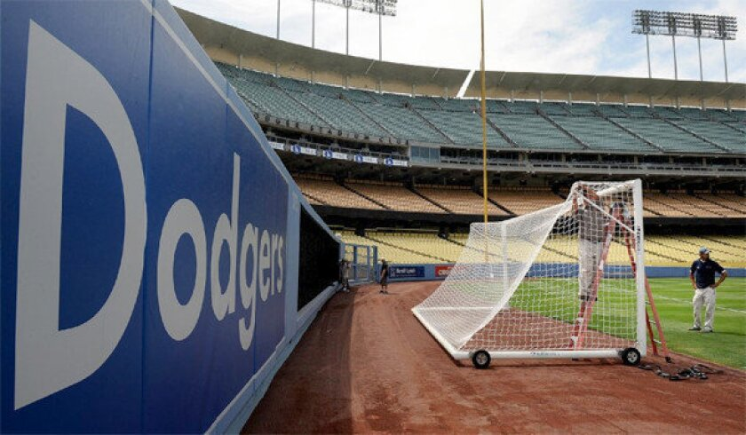 Making a pitch for soccer at Dodger Stadium