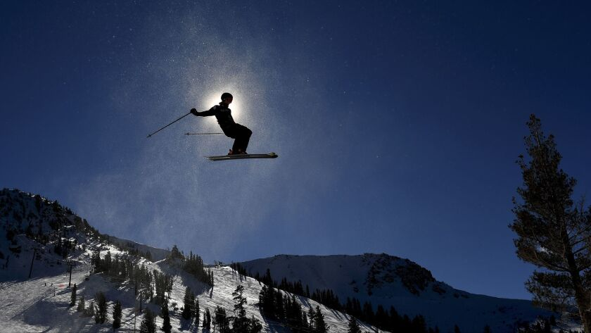 A competitor warms-up before the start of the Men's Slopestyle Qualifier in Mammoth Mountain Saturday.