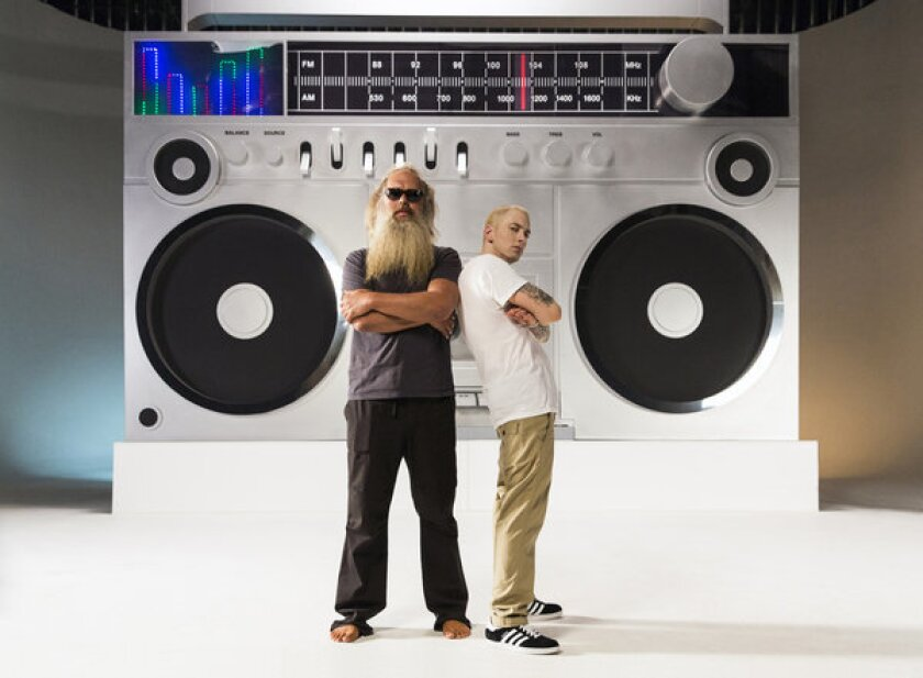 """Rapper Eminem, right, is joined by producer Rick Rubin in the music video for his new single """"Berzerk."""""""