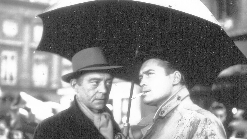 "Jean Servais, left, and Carl Mohner hatch a plan in Jules Dassin's ""Rififi."""