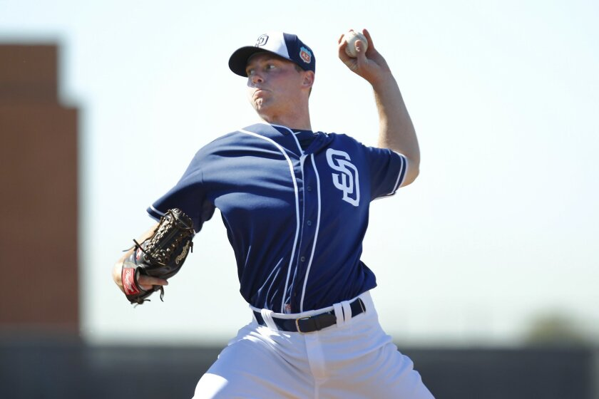 San Diego Padres Robbie Erlin pitches during a spring training practice.