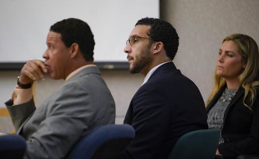 Kellen Winslow II listens to closing arguments