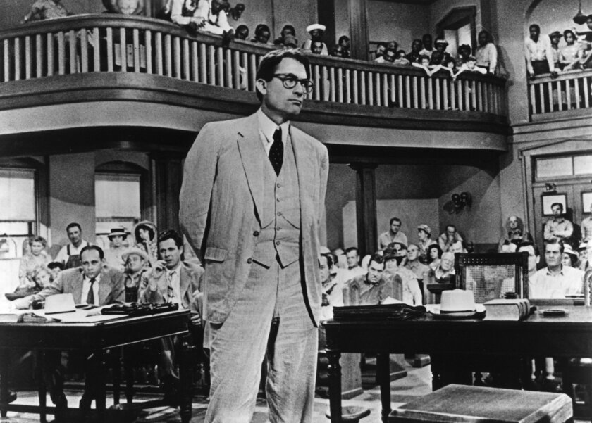 "Gregory Peck in one of his most famous roles, as Atticus Finch in ""To Kill a Mockingbird."""