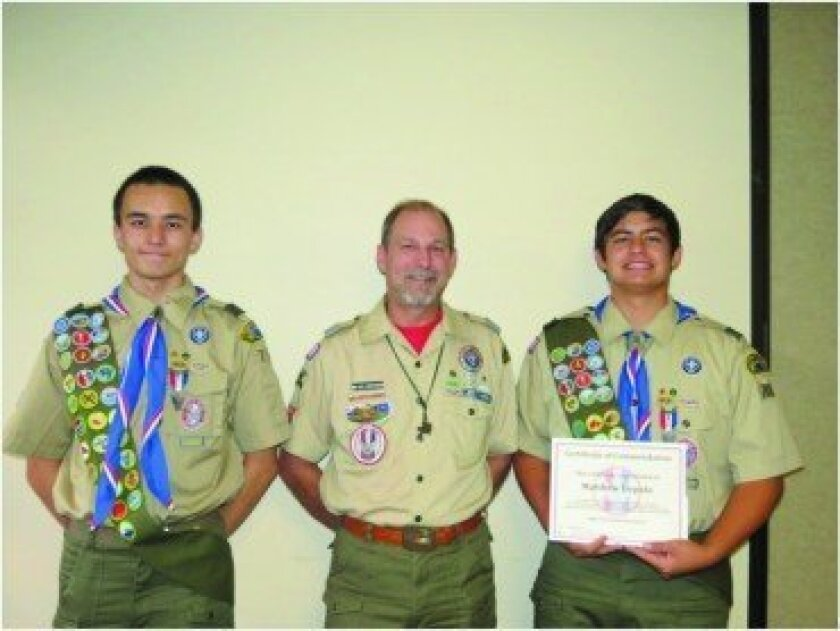 (L-R) Sean Depolo, Russ Christensen (of the Eagle Scout Alumni Association), Matt Depolo.