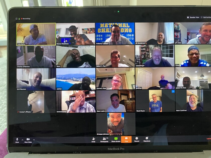 Members of UCLA's 1995 men's basketball team share some laughs over Zoom while conducting a virtual reunion Friday in celebration of the 25th anniversary of their NCAA title.