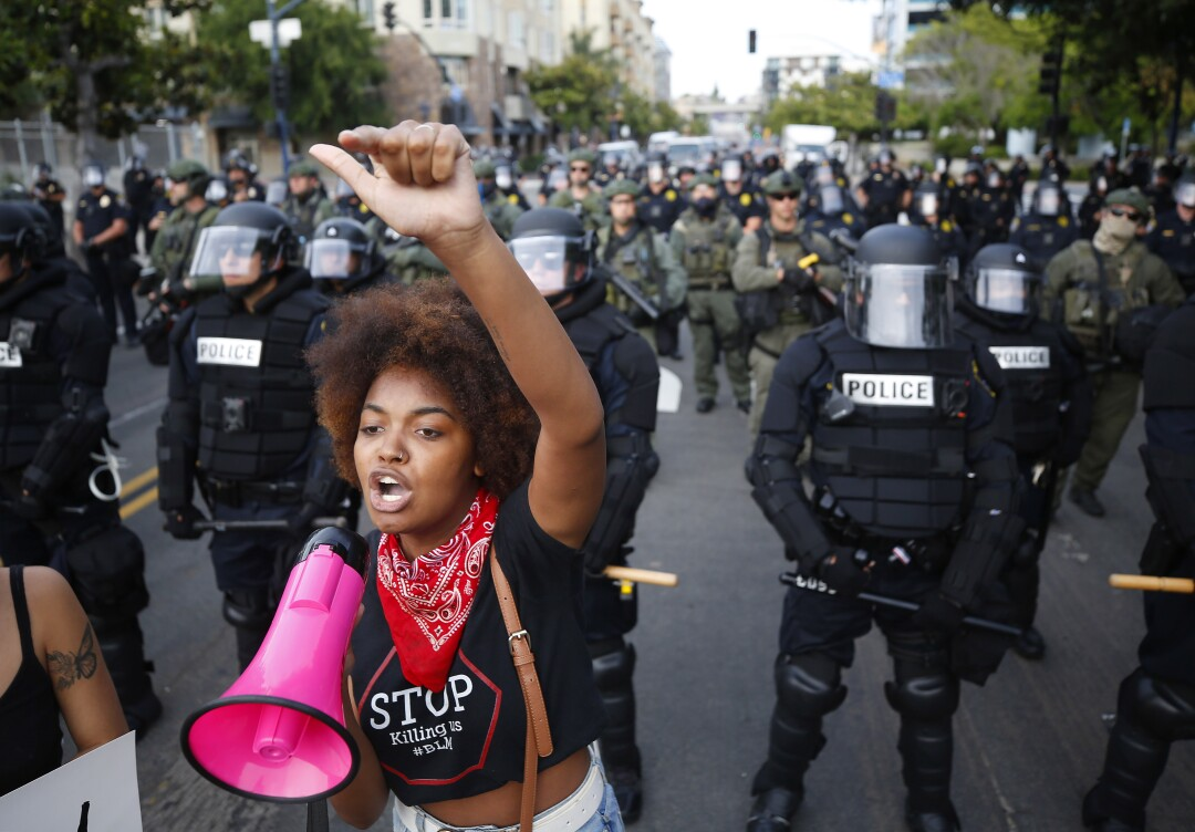 Jaelyn Kennedy, 18, speaks during a youth-led protest.