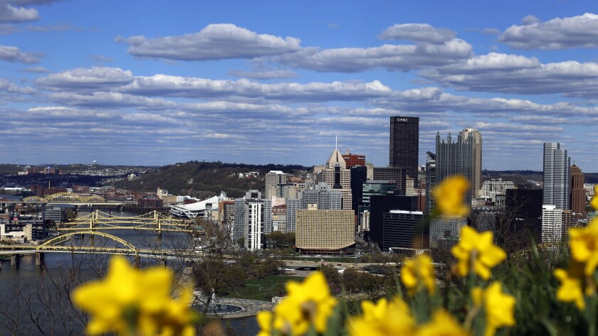 The skyline of downtown Pittsburgh in spring 2015.