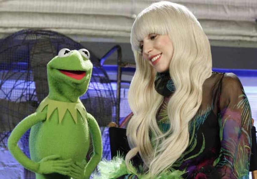 """Kermit duets with yet another diva on """"Lady Gaga & the Muppets' Holiday Spectacular"""" on ABC."""