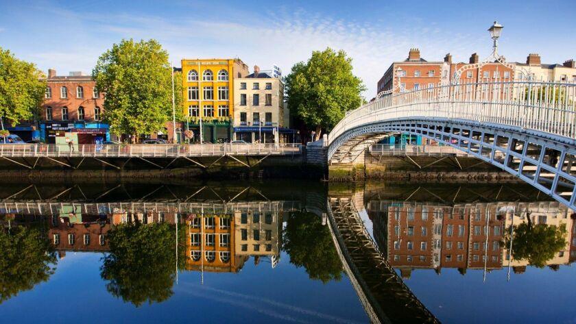 View of Ha'penny bridge in Dublin, Ireland.