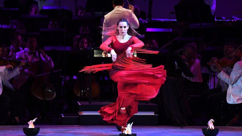"""HOLLYWOOD, CALIFORNIA JULY 11, 2019-Dancer Siudy Garrido dances on stage during Falla's """"El Amor Bru"""