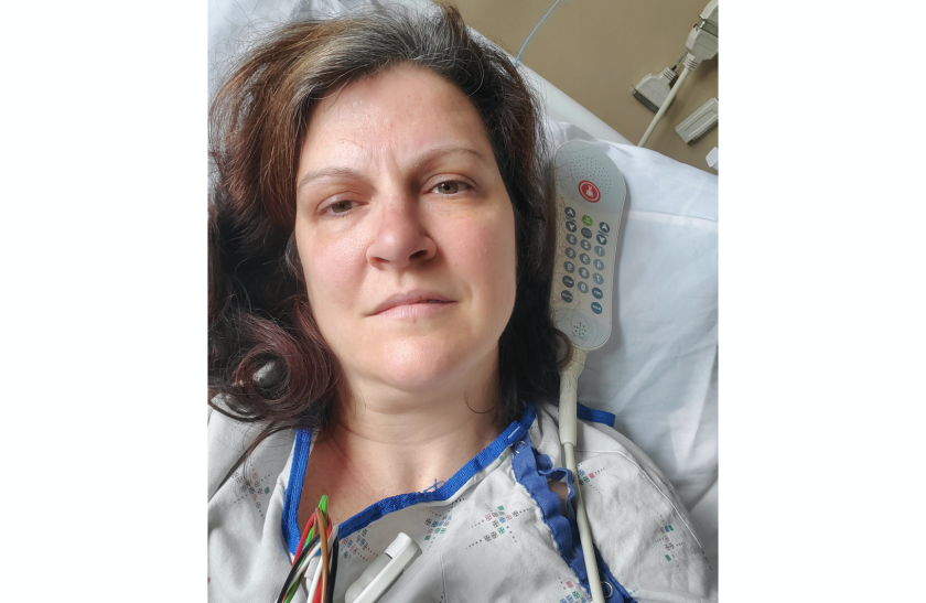 Darlene Gildersleeve in a hospital bed in Manchester, N.H. She thought she had recovered from COVID-19, but then she had two strokes.