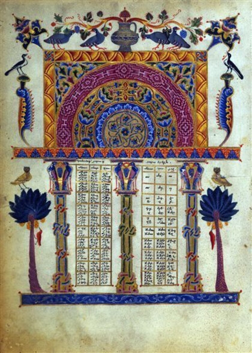This undated image provided by the J. Paul Getty Museum shows a detail from the Armenian Bible, illustrated by T'oros Roslin, dating to 1256, and was acquired by the Los Angeles-based museum from a private collector in 1994. Attorneys for the Armenian church have filed a lawsuit against the J. Paul Getty Museum, demanding the return of seven pages ripped from the Armenian Bible, according to a report Thursday June 3, 2010.(AP Photo/J. Paul Getty Museum) -- NO SALES--